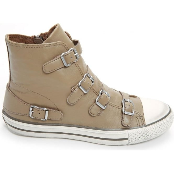 Ash Footwear Virgin High Top Leather Buckle Trainer, Taupe