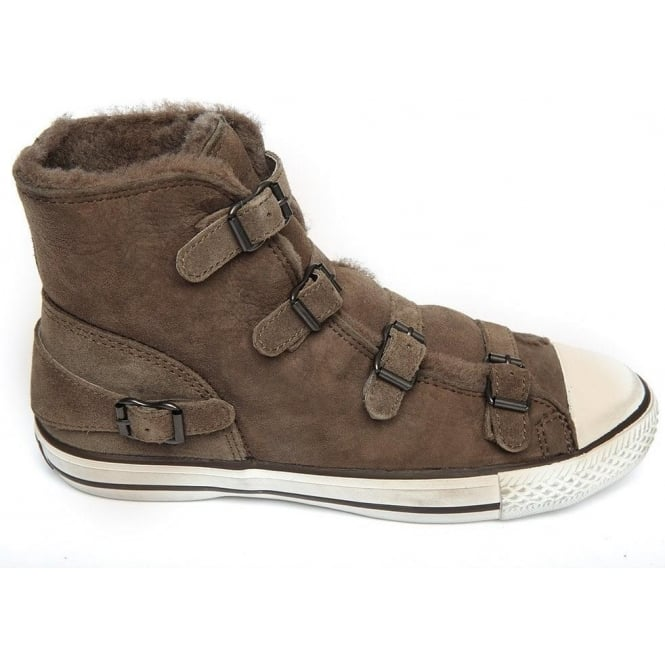 Ash Footwear Virginy Shearling Lined Hi-Top Trainer, Elephant