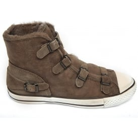 Virginy Shearling Lined Hi-Top Trainer, Elephant
