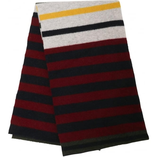 Barbour Felted Striped Scarf, Navy