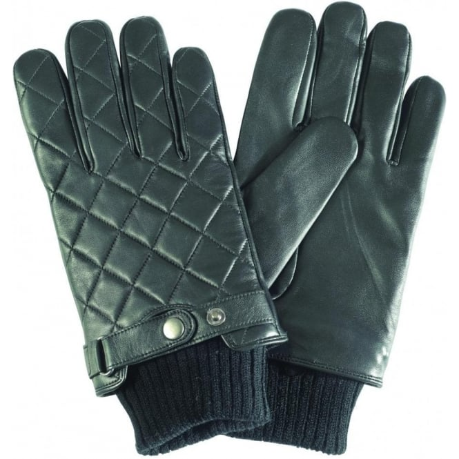 Barbour Quilted Leather Glove, Black