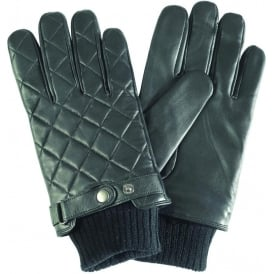 Quilted Leather Glove, Black