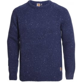 Crew Neck Anglistic Sweater (Blue Heather)