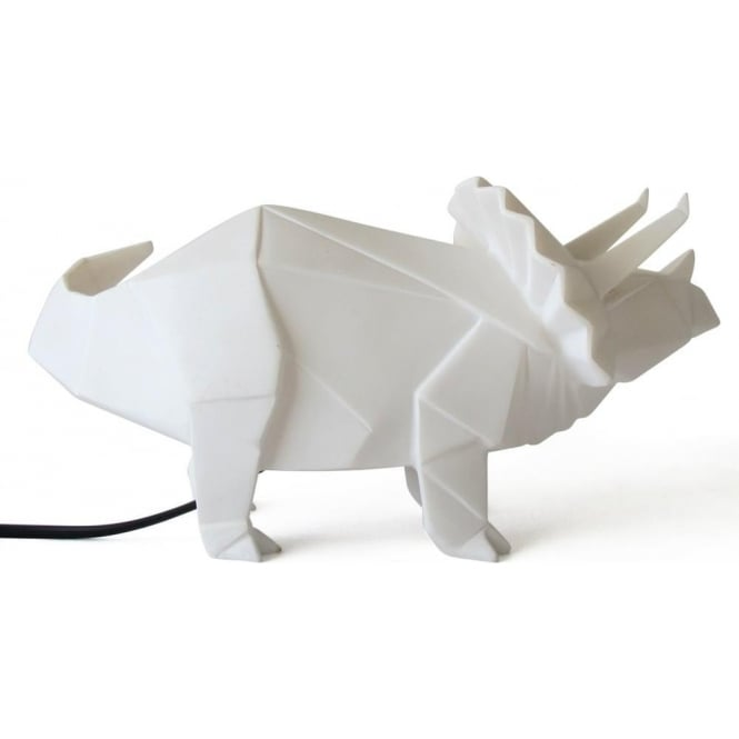 Disaster Designs Triceratops Dinosaur Lamp, White