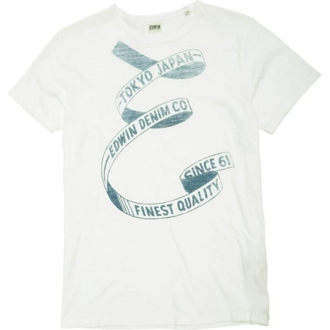 Edwin Denim E Ribbon Tee, White