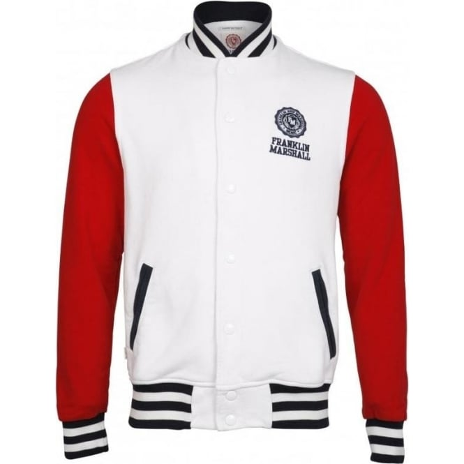 Franklin & Marshall Long Sleeve College Fleece American Jacket (White)