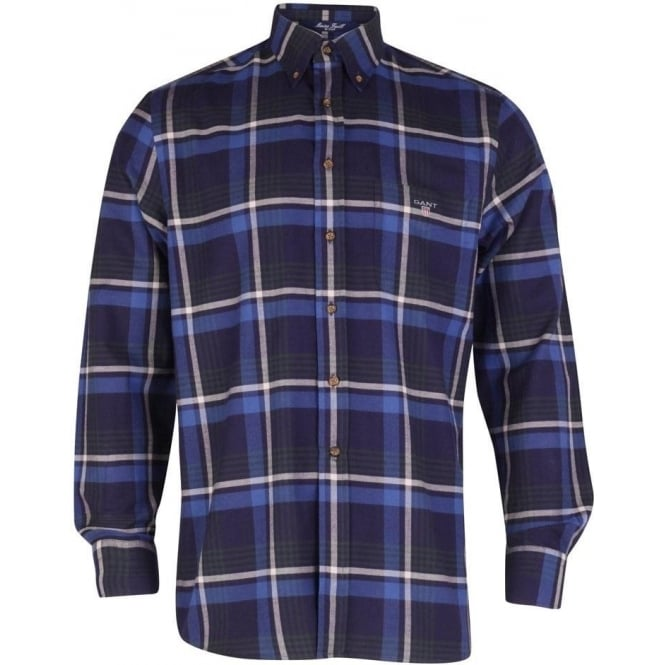 Gant Maine Twill Check Shirt - Ocean Blue