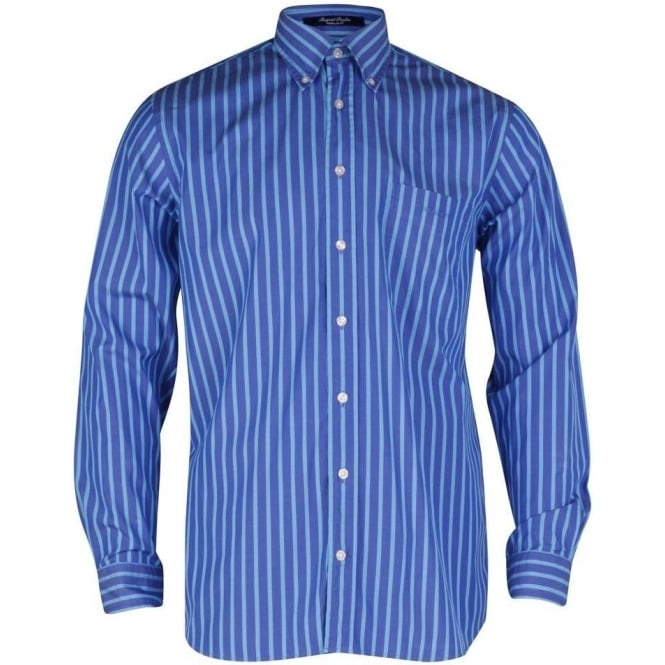 Gant Regent Poplin Stripe Shirt - Atlantic Blue