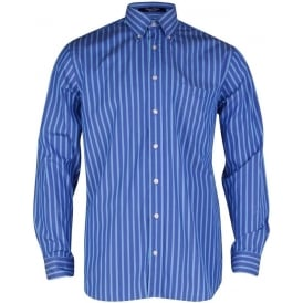 Regent Poplin Stripe Shirt - Atlantic Blue