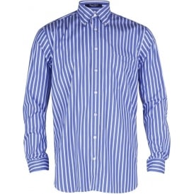 Regent Poplin Stripe Shirt - Sea Blue