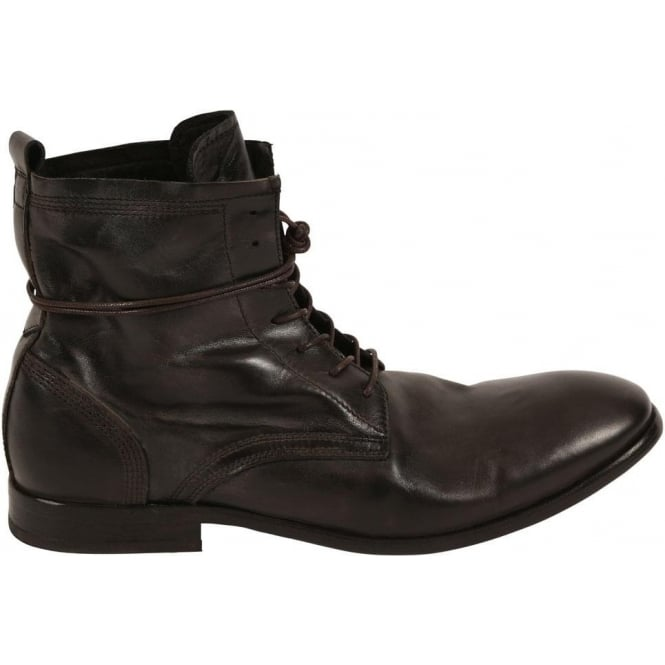 H By Hudson Man Swathmore Laced Leather Boot, Black