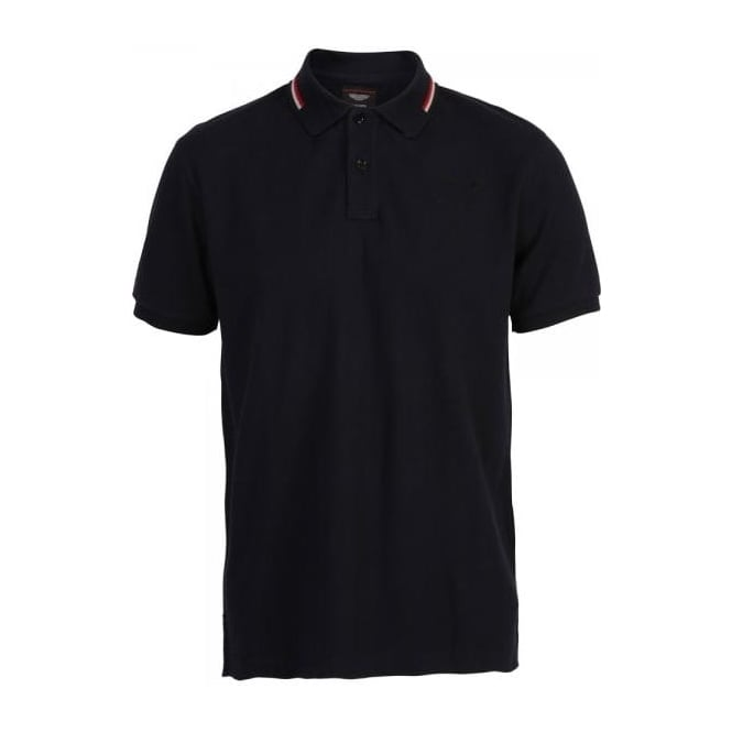 Hackett Aston Martin Racing, AMR Short Sleeve Polo with Collar Tipping, Dark Navy
