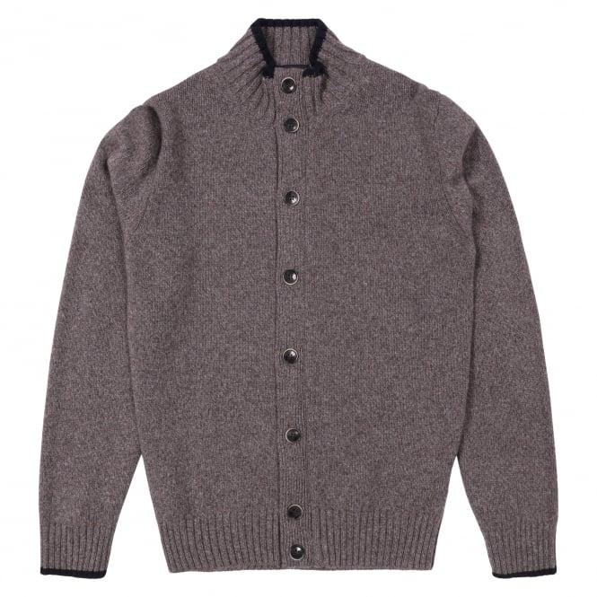 Hackett Chunky Buttoned Cardigan, Brown