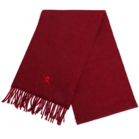 Embroidered Cashmere Scarf, Wine