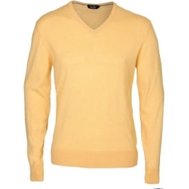 Fine Gauge Cashmere-Cotton V-Neck Pullover, Yellow