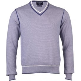 Fine Stripe Cotton V- Neck Sweater