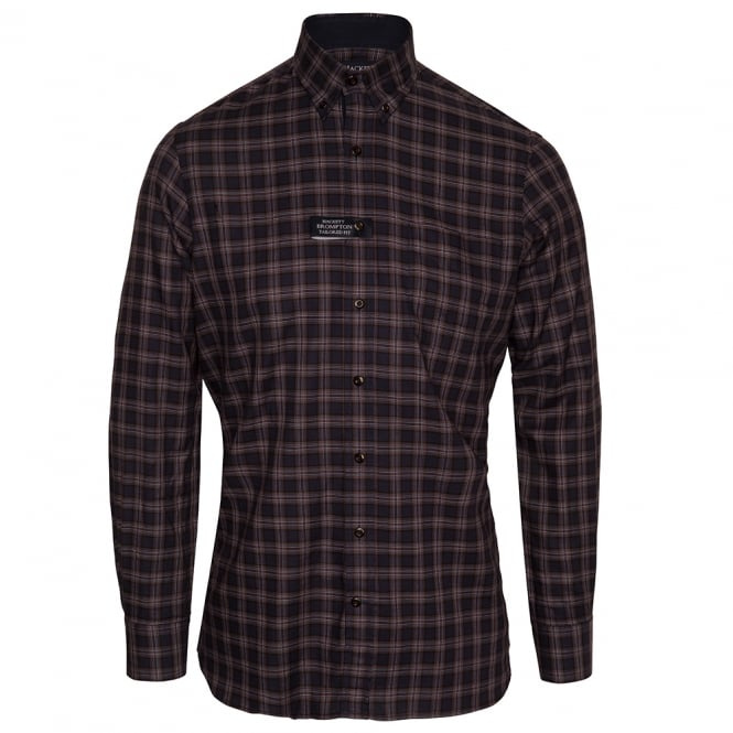 Hackett Long Sleeve Navy Twill Plaid Shirt