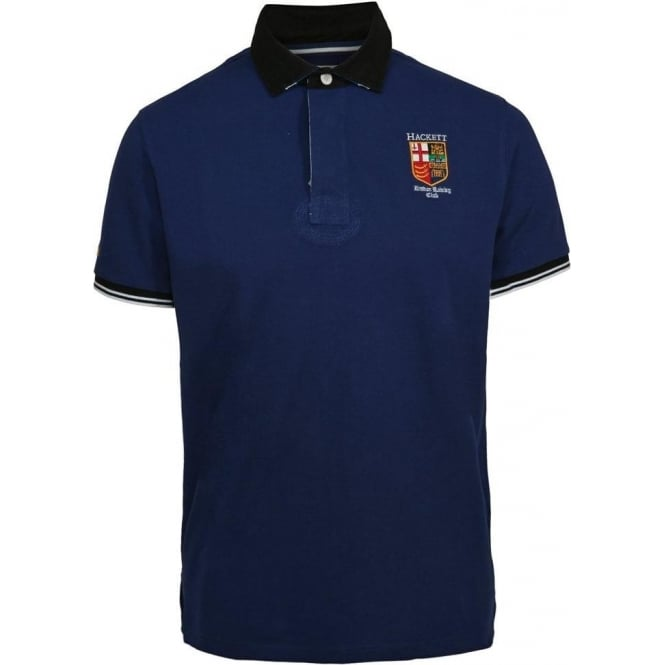Hackett LRC Union Jack Collar Polo Shirt, Blue