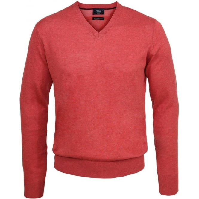 Hackett Silk Cotton Cashmere Mix V-Neck, Coral
