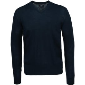 Silk Cotton Cashmere Mix V-Neck, Navy