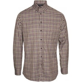 Twill Gingham Check Shirt, Brown/Green