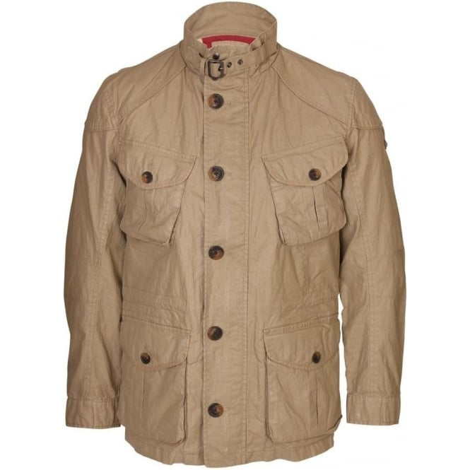 Hackett Wax Coated Linen Serengeti Field Jacket, Sand