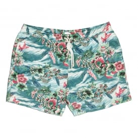 Hawaiian Print Swim Short, Multi