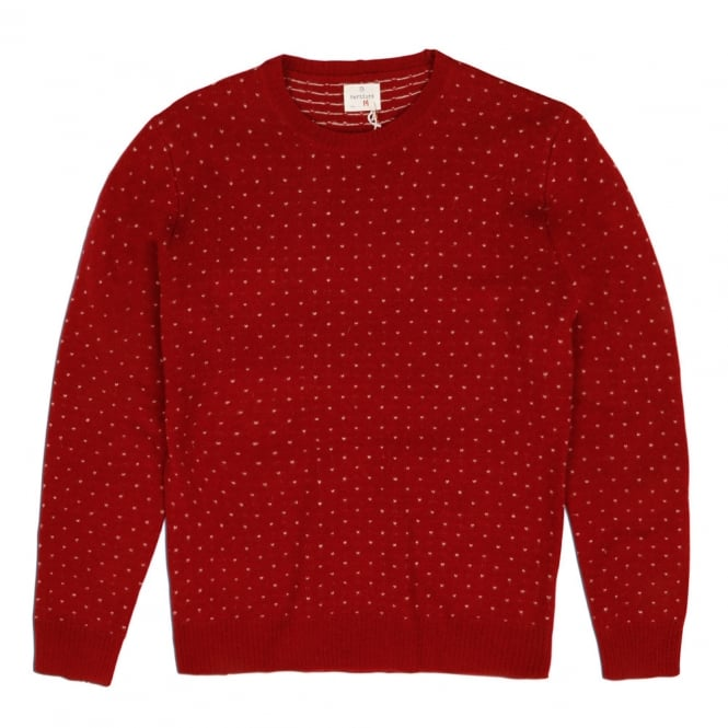 Hartford Jacquard Crew Neck Pullover, Red
