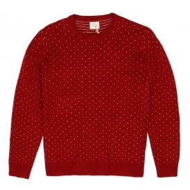 Jacquard Crew Neck Pullover, Red
