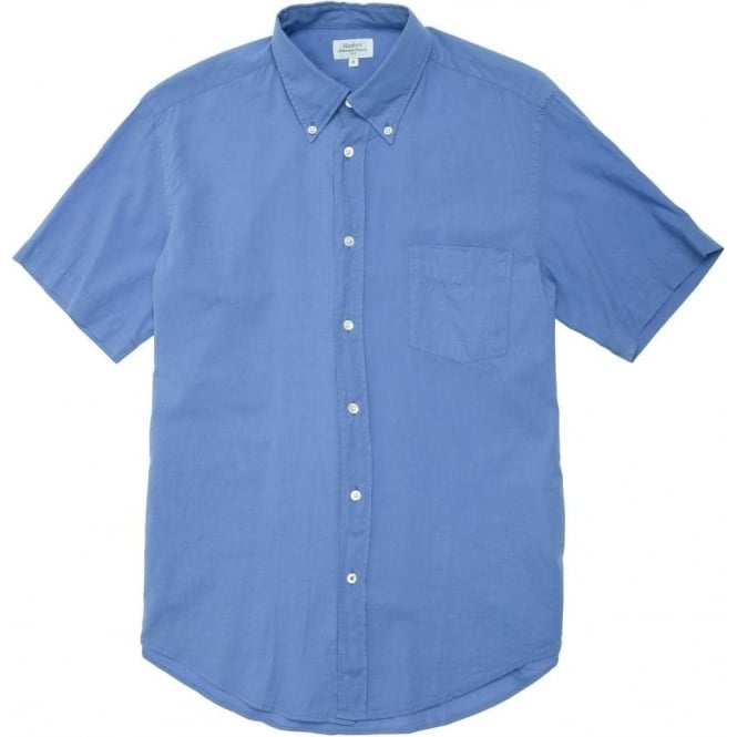 Hartford Lightweight Garment Dyed Cotton Shirt, Blue