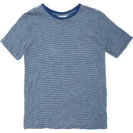 Striped Slub Cotton Pocket Tee