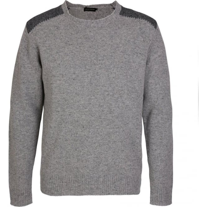 Holland Esquire Herringbone Patch Lambswool Crew Neck Knit