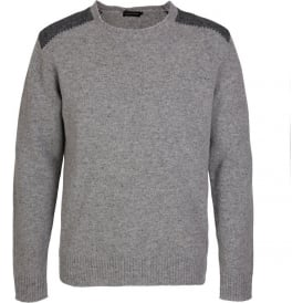 Herringbone Patch Lambswool Crew Neck Knit