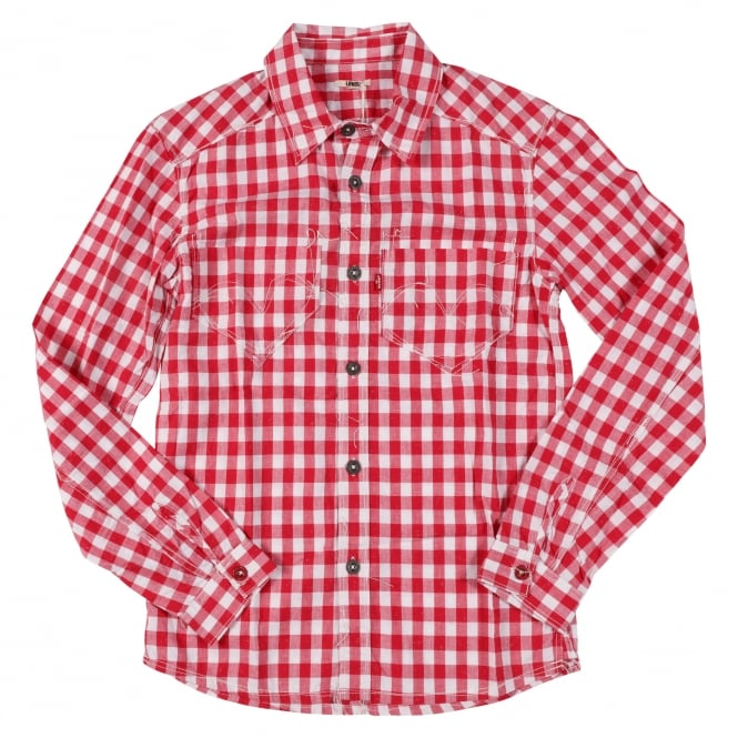 Levis Levi's Guys Shirt Red Check