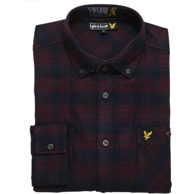 Lyle and Scott Check Twill Flannel Overshirt, Deep Plum