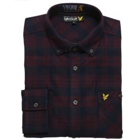 Check Twill Flannel Overshirt, Deep Plum