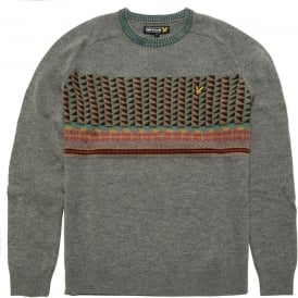 Long Sleeve Crew Neck Block Fairisle Pullover, Grey Marl