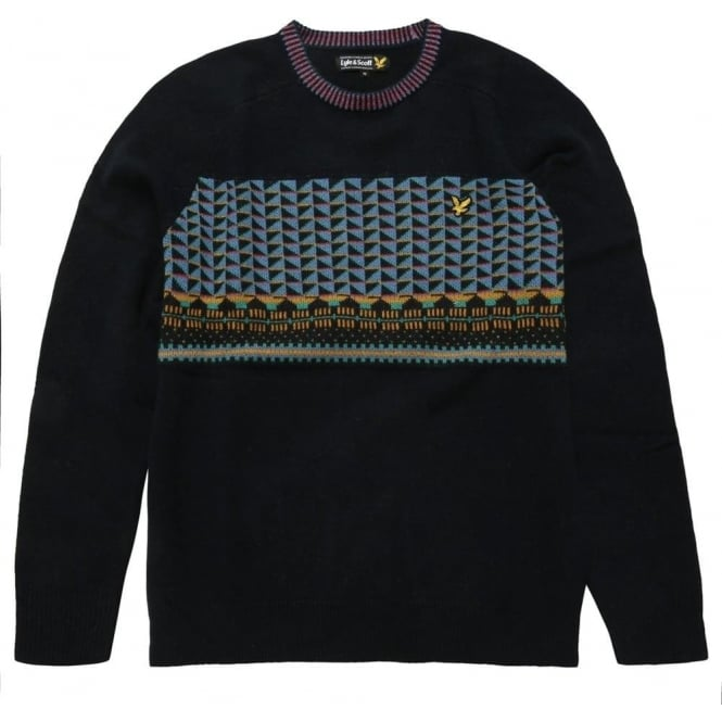 Lyle and Scott Long Sleeve Crew Neck Block Fairisle Pullover, New Navy