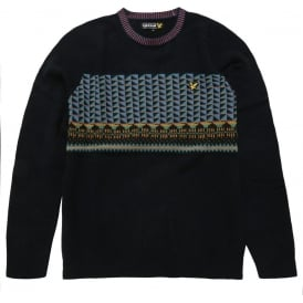 Long Sleeve Crew Neck Block Fairisle Pullover, New Navy