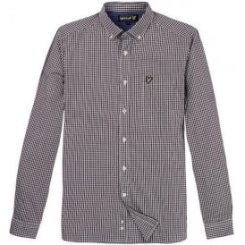 Long Sleeve Gingham Shirt, Deep Plum
