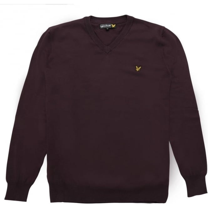 Lyle and Scott Long Sleeve V-Neck Cotton Pullover, Deep Plum