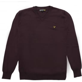 Long Sleeve V-Neck Cotton Pullover, Deep Plum