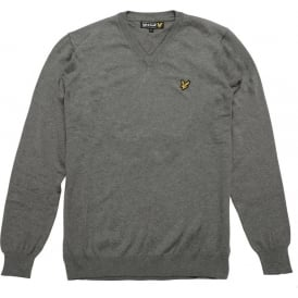 Long Sleeve V-Neck Cotton Pullover, Mid-Grey Marl