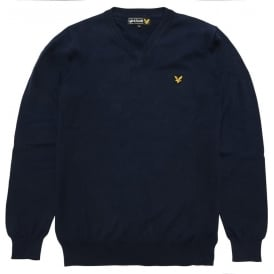 Long Sleeve V-Neck Cotton Pullover, New Navy