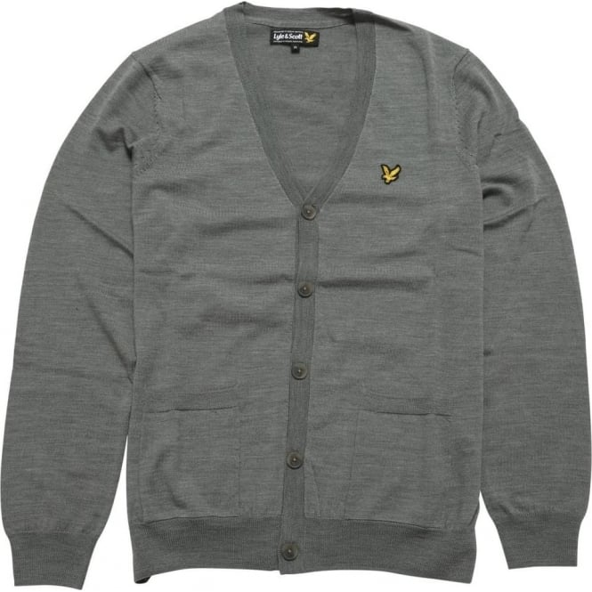 Lyle and Scott Merino Cardigan (12gg) Mid-Grey Marl