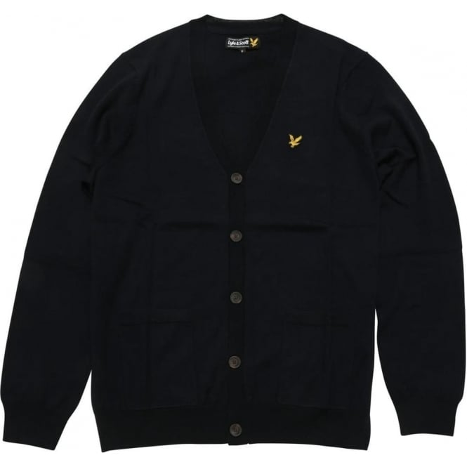 Lyle and Scott Merino Cardigan (12gg) New Navy