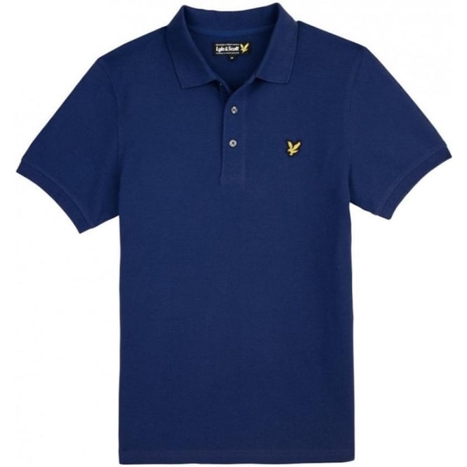 Lyle and Scott Short Sleeve Plain Pique Polo Shirt, Saltire Blue