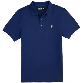 Short Sleeve Plain Pique Polo Shirt, Saltire Blue