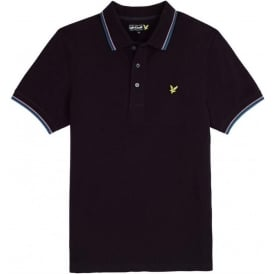 Short Sleeve Tipped Polo Shirt, Deep Plum