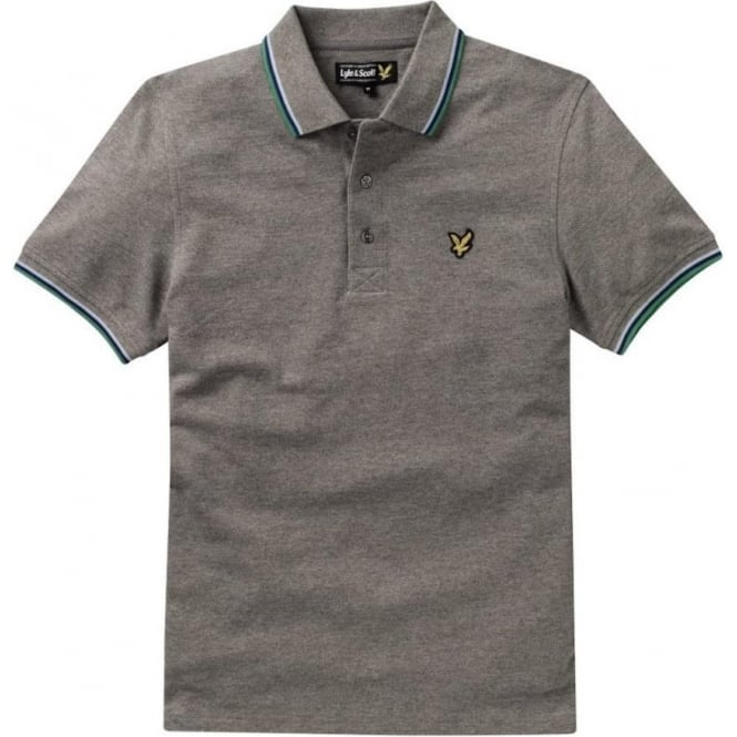 Lyle and Scott Short Sleeve Tipped Polo Shirt, Mid Grey Marl